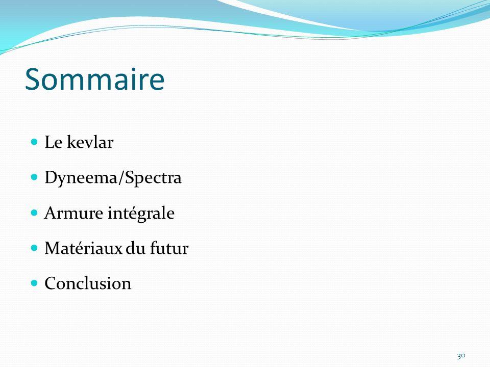 Sommaire Le kevlar Dyneema/Spectra Armure intégrale Matériaux du futur Conclusion 30