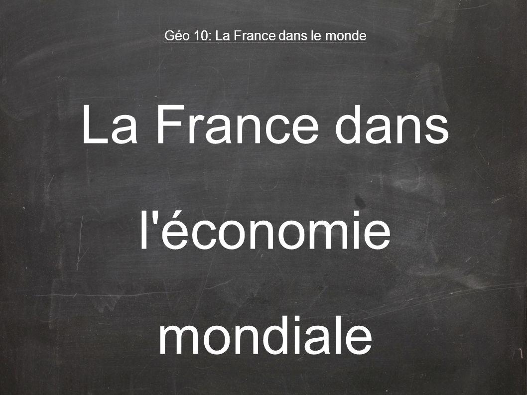La France dans l économie mondiale La France se situe au 5ème rang mondial, derrière les Etats-Unis, le Japon, la Chine et lAllemagne.