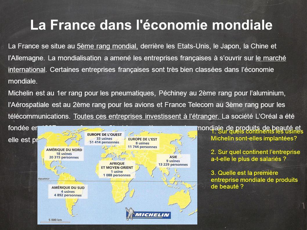 La France dans l'économie mondiale La France se situe au 5ème rang mondial, derrière les Etats-Unis, le Japon, la Chine et lAllemagne. La mondialisati