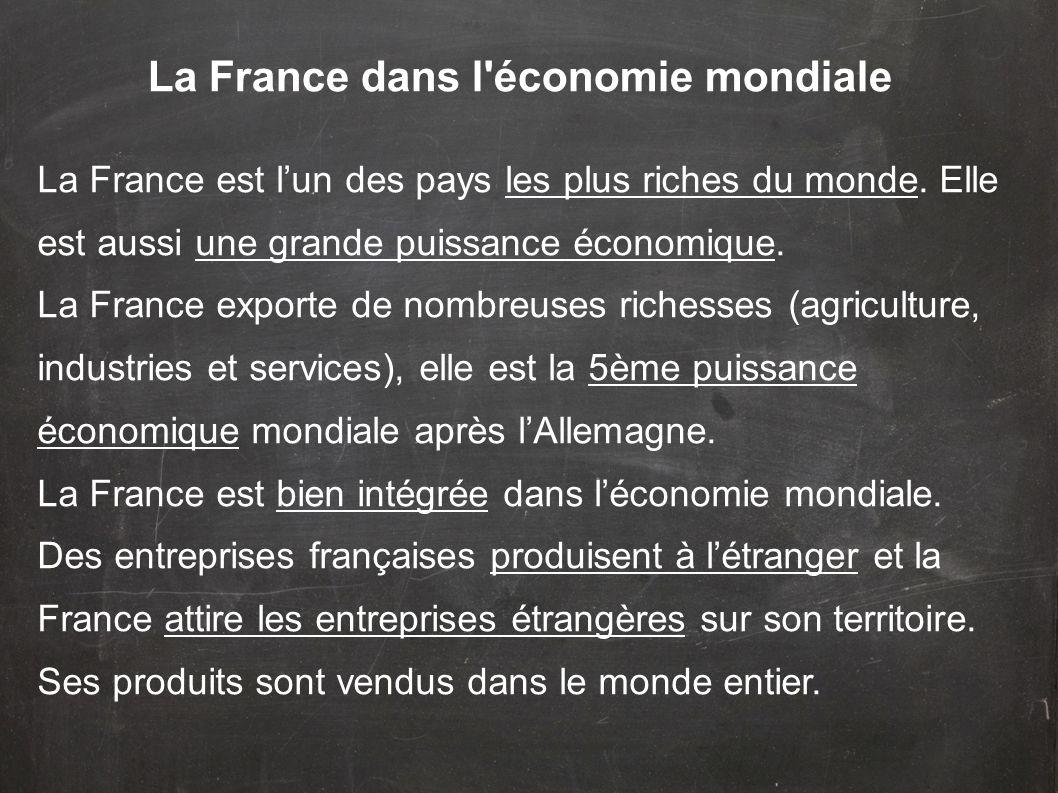 La France est lun des pays les plus riches du monde. Elle est aussi une grande puissance économique. La France exporte de nombreuses richesses (agricu