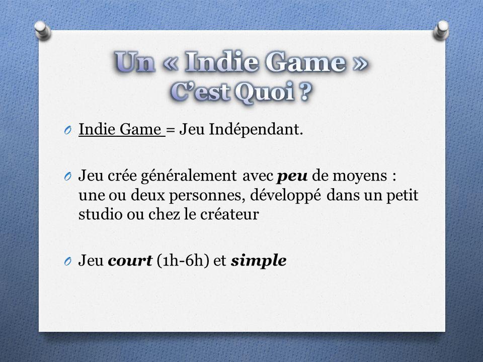 O Indie Game = Jeu Indépendant.