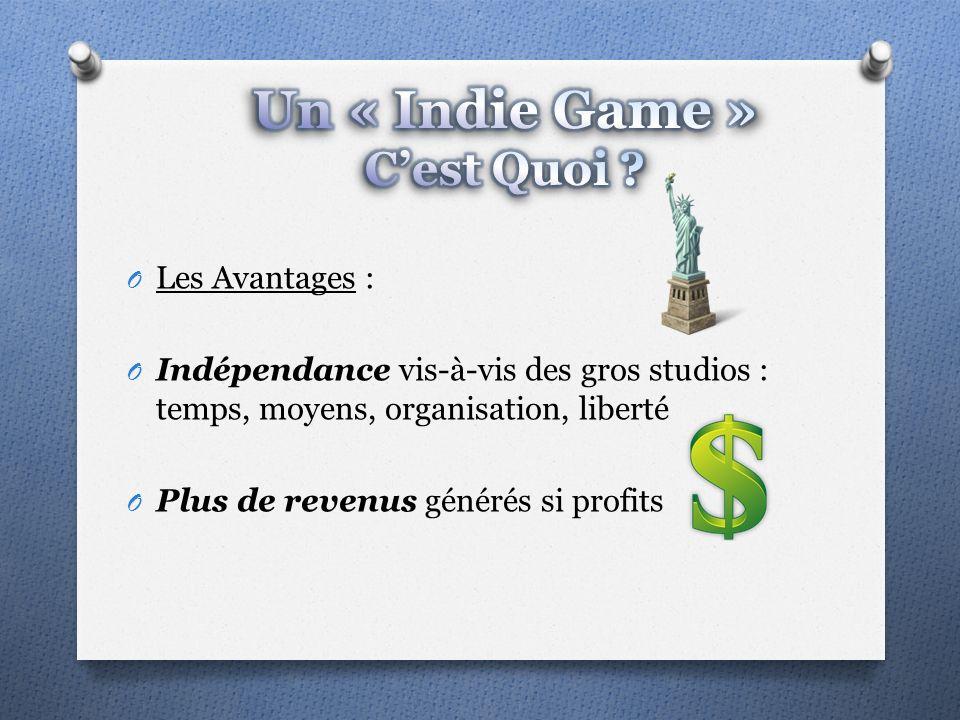 O Les Avantages : O Indépendance vis-à-vis des gros studios : temps, moyens, organisation, liberté O Plus de revenus générés si profits