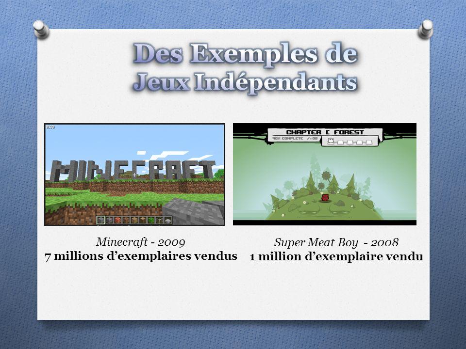 Minecraft - 2009 7 millions dexemplaires vendus Super Meat Boy - 2008 1 million dexemplaire vendu
