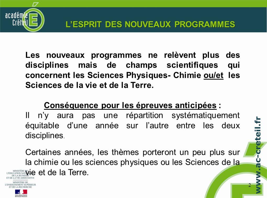 2 LESPRIT DES NOUVEAUX PROGRAMMES Les nouveaux programmes ne relèvent plus des disciplines mais de champs scientifiques qui concernent les Sciences Ph