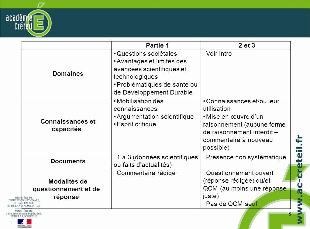8 Partie 12 et 3 Domaines Questions sociétales Avantages et limites des avancées scientifiques et technologiques Problématiques de santé ou de Dévelop