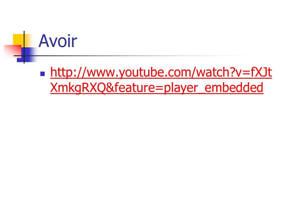 Avoir http://www.youtube.com/watch?v=fXJt XmkgRXQ&feature=player_embedded http://www.youtube.com/watch?v=fXJt XmkgRXQ&feature=player_embedded