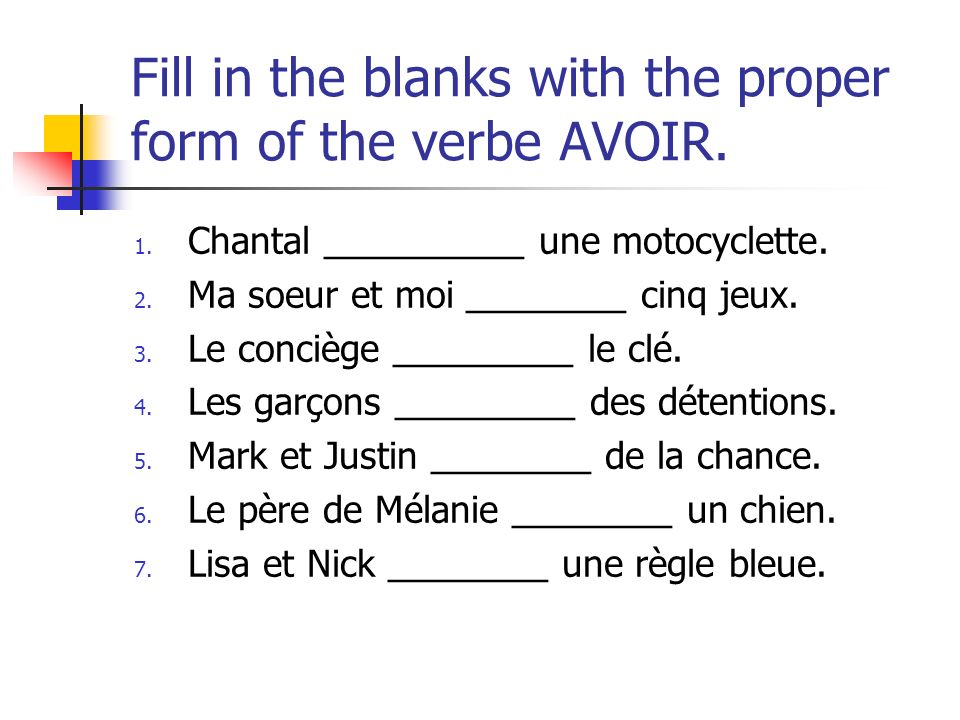Match a subject pronoun from the first column with part of a sentence from the second column to form 8 complete sentences.