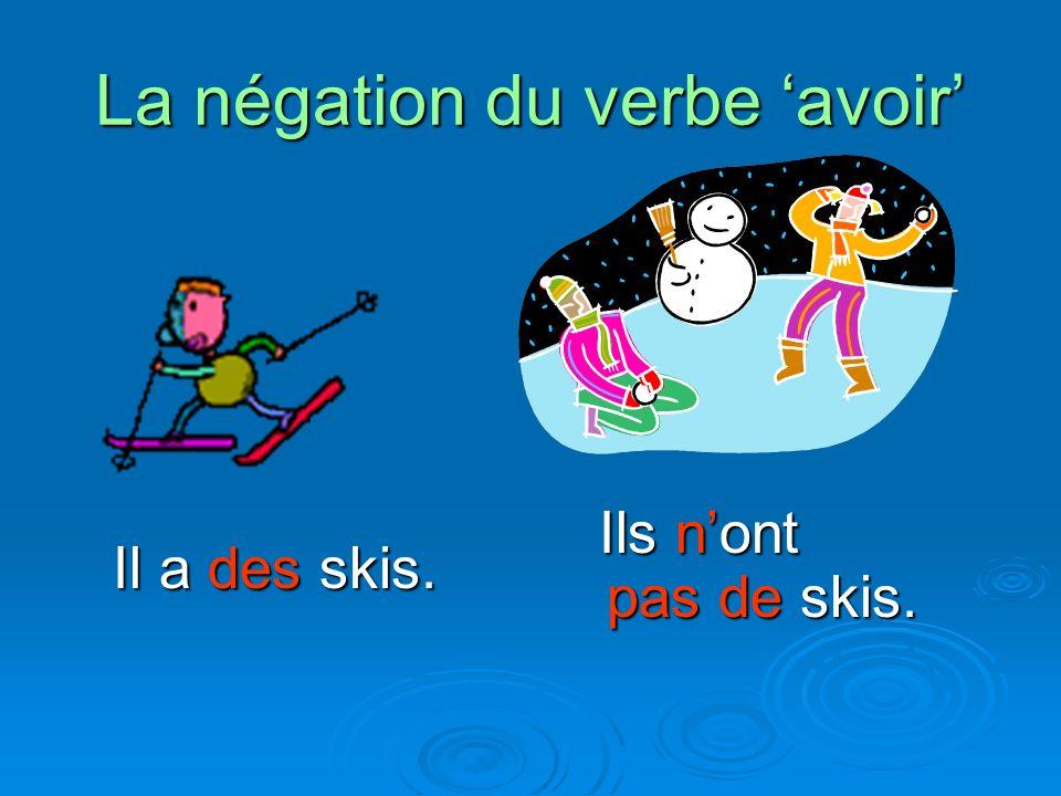 La négation du verbe avoir Il a des skis. Il a des skis. Ils nont pas de skis. Ils nont pas de skis.