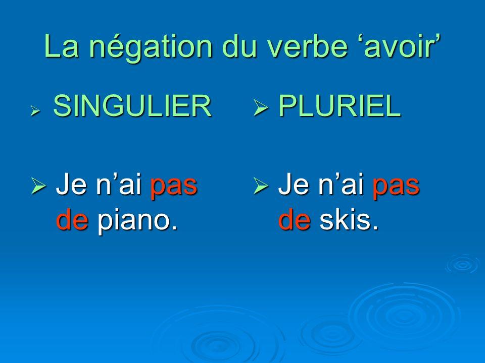 La négation du verbe avoir SINGULIER SINGULIER Je nai pas de piano. Je nai pas de piano. PLURIEL PLURIEL Je nai pas de skis. Je nai pas de skis.