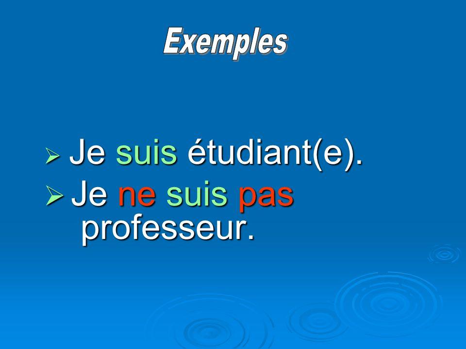 Je suis étudiant(e). Je suis étudiant(e). Je ne suis pas professeur. Je ne suis pas professeur.