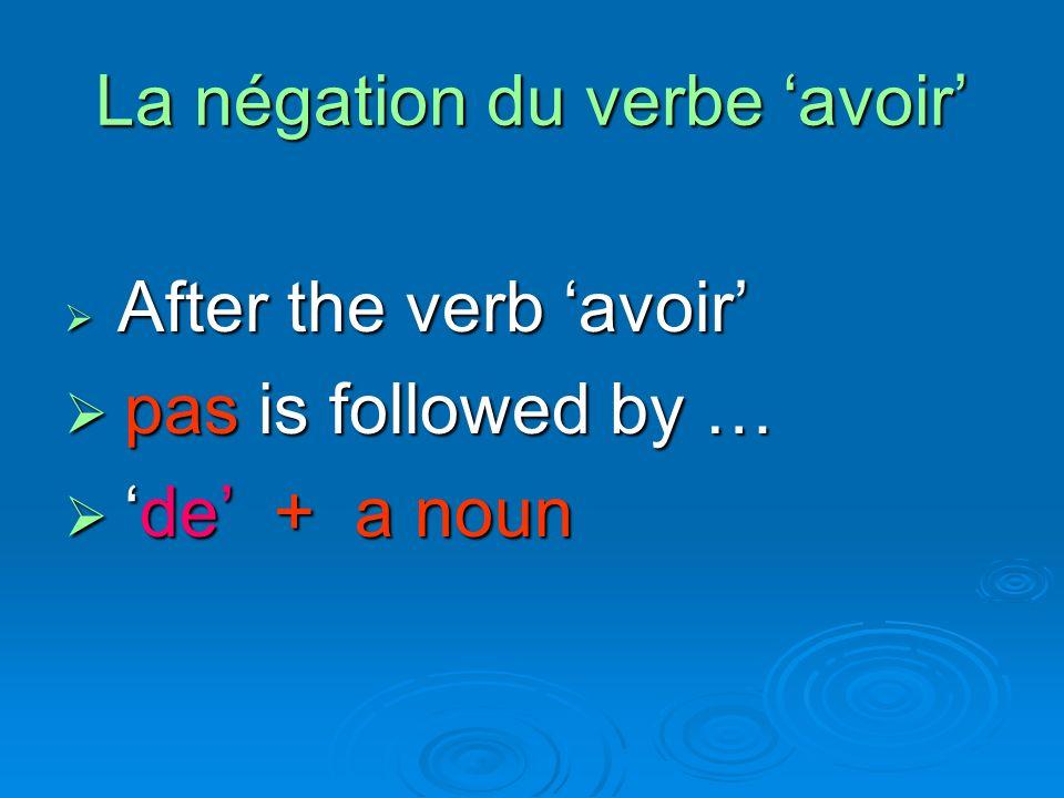 Cette présentation sur la négation du verbe avoir na pas de fin ??? !