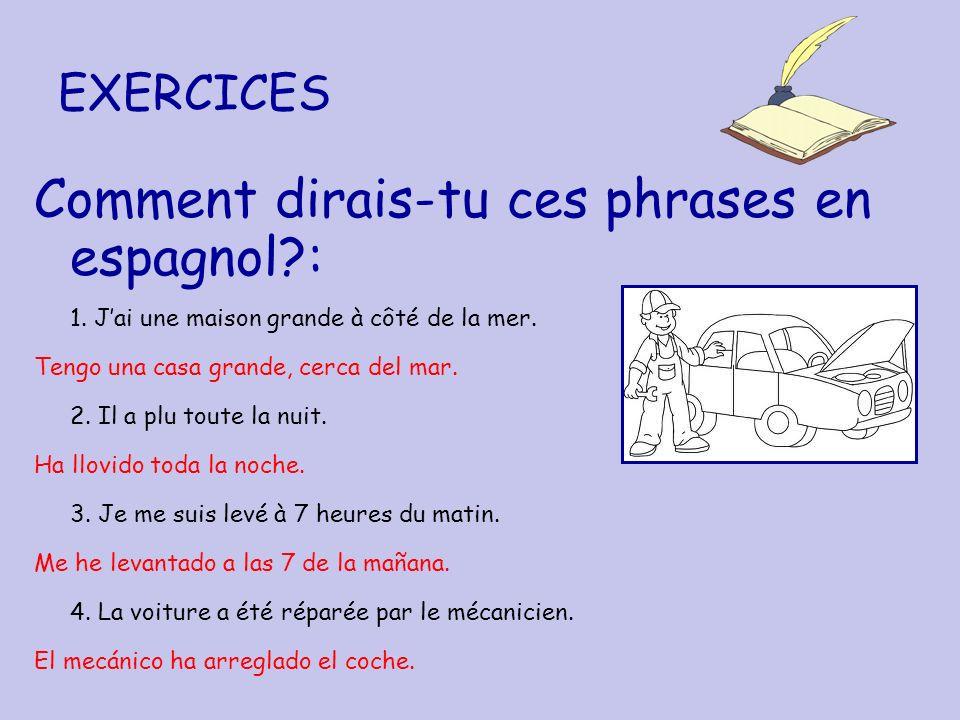 EXERCICES Comment dirais-tu ces phrases en espagnol?: 1. Jai une maison grande à côté de la mer. Tengo una casa grande, cerca del mar. 2. Il a plu tou
