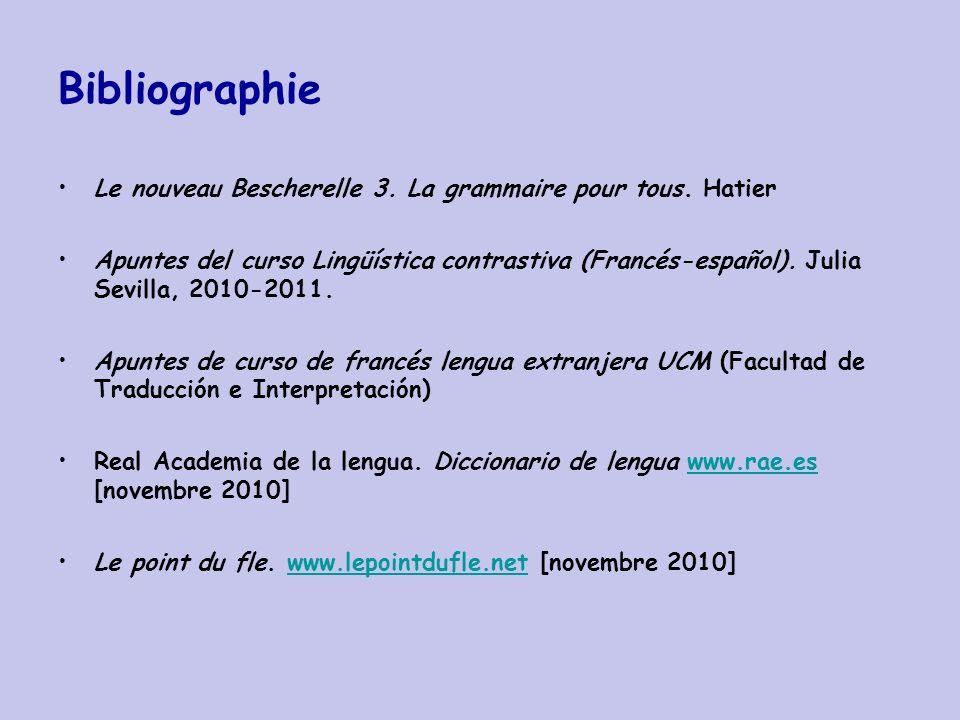 Bibliographie Le nouveau Bescherelle 3. La grammaire pour tous. Hatier Apuntes del curso Lingüística contrastiva (Francés-español). Julia Sevilla, 201
