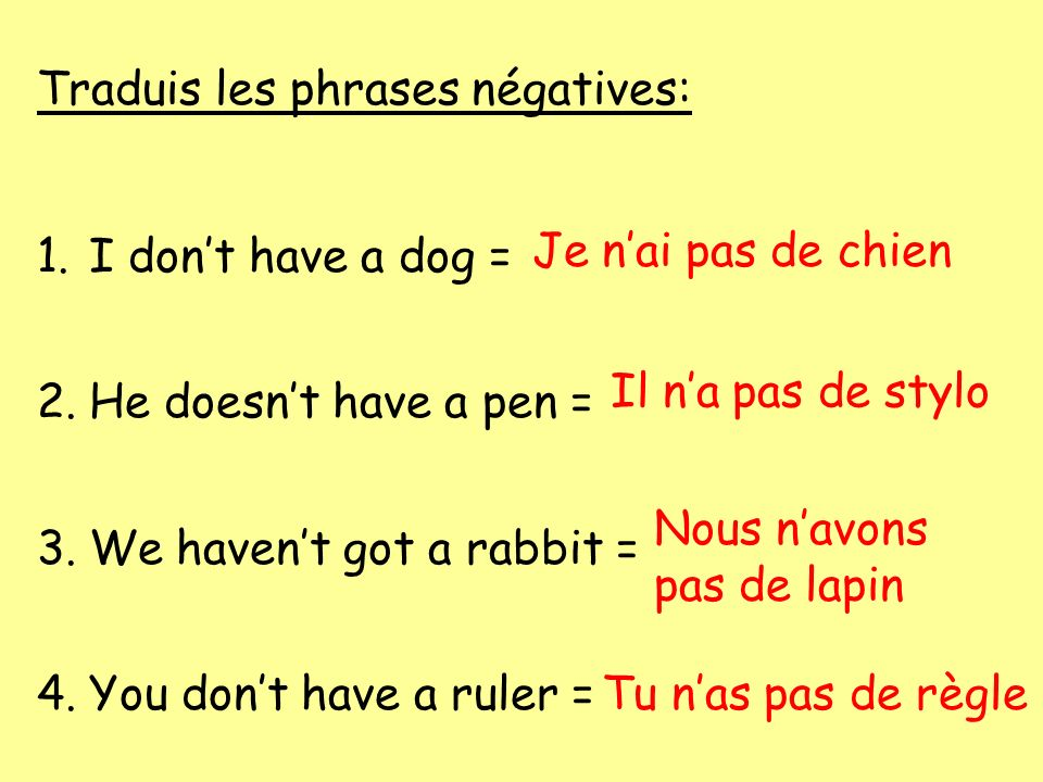 Traduis les phrases négatives: 1.I dont have a dog = 2.He doesnt have a pen = 3.We havent got a rabbit = 4.You dont have a ruler = Je nai pas de chien