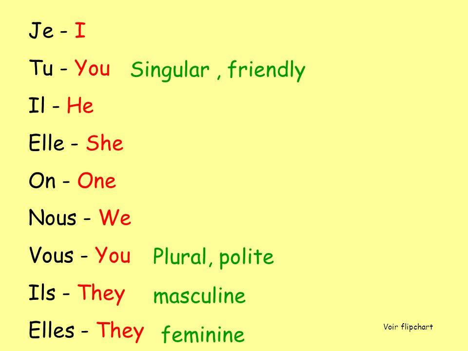 Je - I Tu - You Il - He Elle - She On - One Nous - We Vous - You Ils - They Elles - They Singular, friendly Plural, polite masculine feminine Voir fli