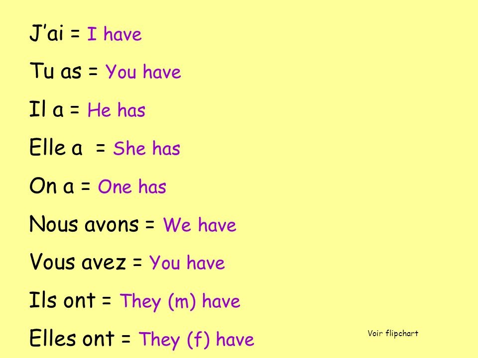 Jai = I have Tu as = You have Il a = He has Elle a = She has On a = One has Nous avons = We have Vous avez = You have Ils ont = They (m) have Elles ont = They (f) have Voir flipchart