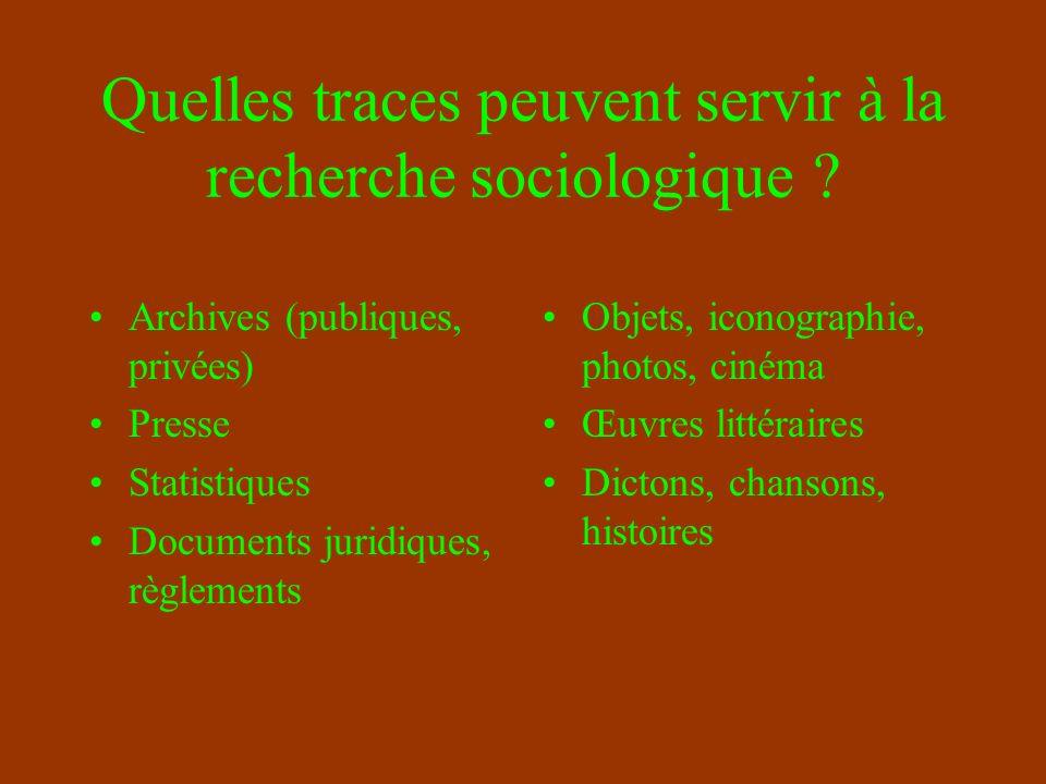 Les grandes méthodes de recueil de données dans la recherche sociologique EnquêteExpérimentationObservation L étude de traces