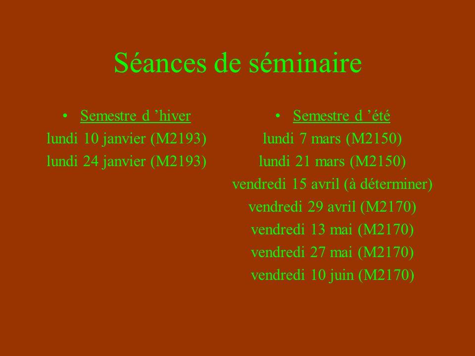 Séances de séminaire Semestre d hiver lundi 10 janvier (M2193) lundi 24 janvier (M2193) Semestre d été lundi 7 mars (M2150) lundi 21 mars (M2150) vendredi 15 avril (à déterminer) vendredi 29 avril (M2170) vendredi 13 mai (M2170) vendredi 27 mai (M2170) vendredi 10 juin (M2170)