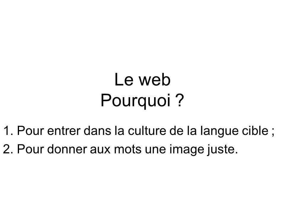 Le web Pourquoi . 1. Pour entrer dans la culture de la langue cible ; 2.