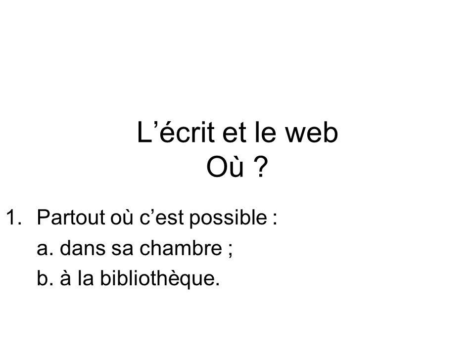 Lécrit et le web Où 1.Partout où cest possible : a. dans sa chambre ; b. à la bibliothèque.