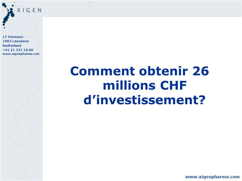 17 Terreaux 1003 Lausanne Switerland +41 21 321 10 80 www.xigenpharma.com Comment obtenir 26 millions CHF dinvestissement