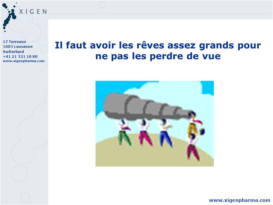 17 Terreaux 1003 Lausanne Switerland +41 21 321 10 80 www.xigenpharma.com Il faut avoir les rêves assez grands pour ne pas les perdre de vue
