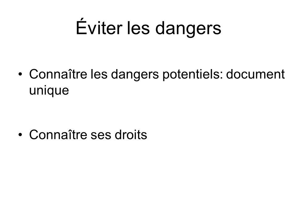 Éviter les dangers Connaître les dangers potentiels: document unique Connaître ses droits