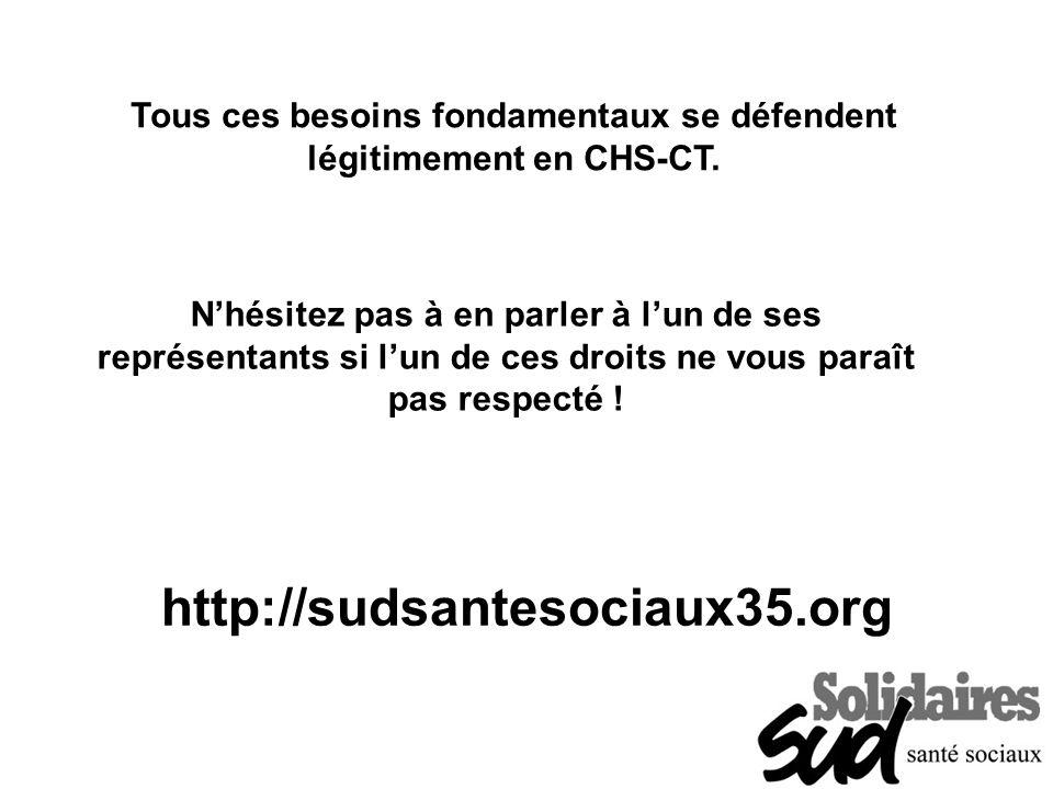 http://sudsantesociaux35.org Tous ces besoins fondamentaux se défendent légitimement en CHS-CT. Nhésitez pas à en parler à lun de ses représentants si