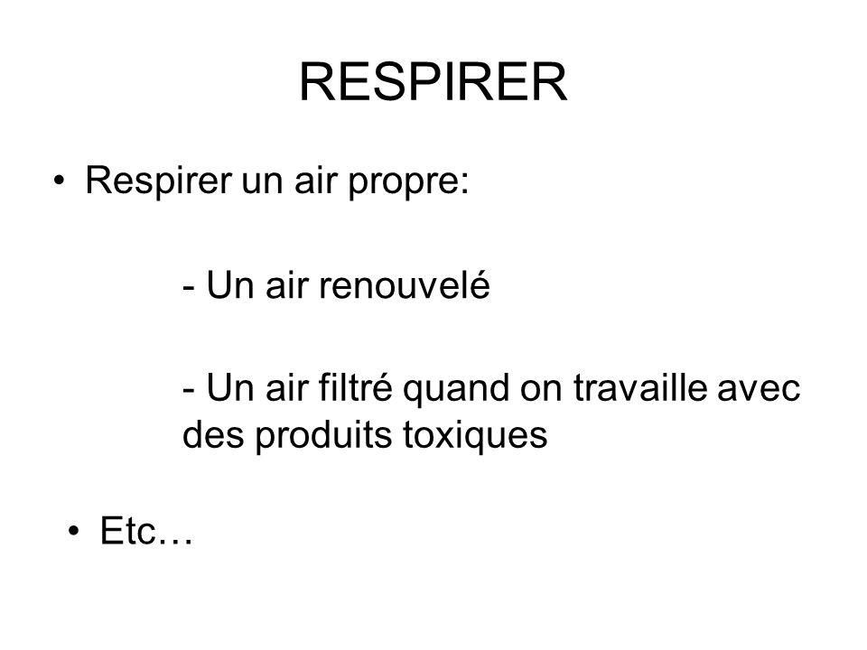 RESPIRER Respirer un air propre: - Un air renouvelé - Un air filtré quand on travaille avec des produits toxiques Etc…