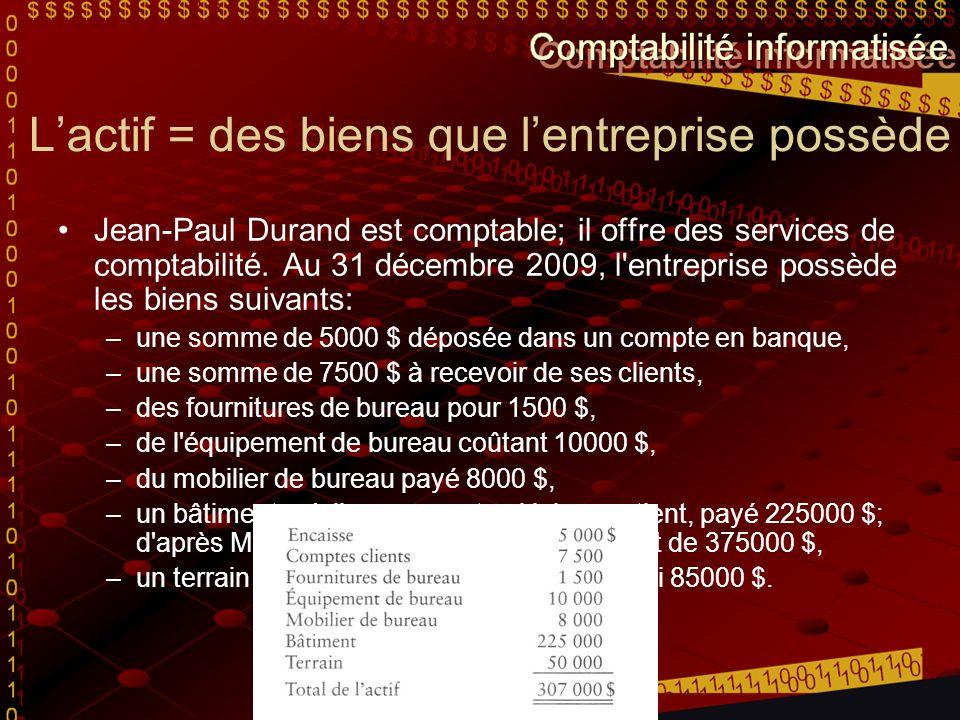 Lactif = des biens que lentreprise possède Jean-Paul Durand est comptable; il offre des services de comptabilité.