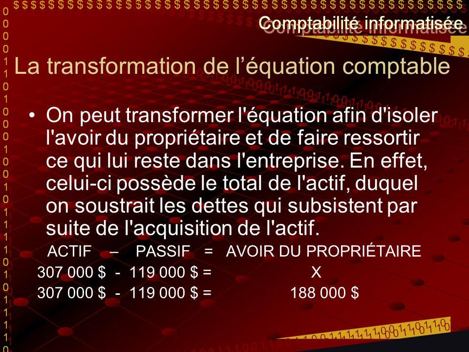 La transformation de léquation comptable On peut transformer l équation afin d isoler l avoir du propriétaire et de faire ressortir ce qui lui reste dans l entreprise.