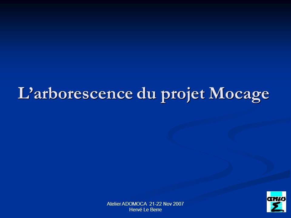 Atelier ADOMOCA 21-22 Nov 2007 Hervé Le Berre Larborescence du projet Mocage