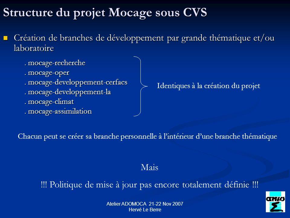 Atelier ADOMOCA 21-22 Nov 2007 Hervé Le Berre Comment avoir accès au serveur CVS .