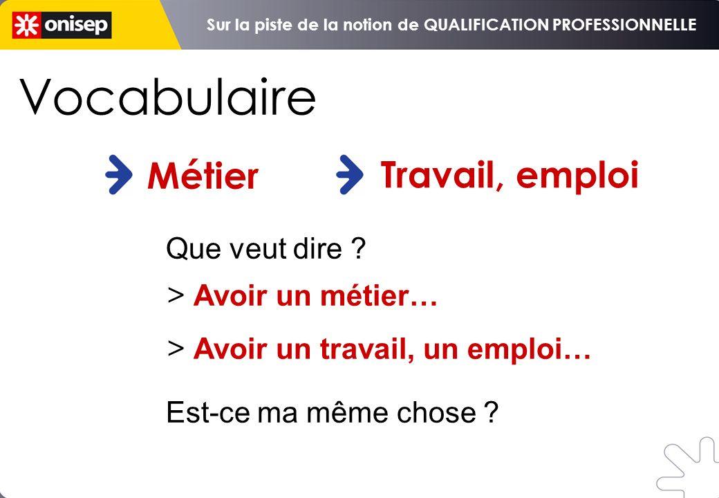 Vocabulaire : Métier Travail / emploi Objectif qualification professionnelle De la qualification à linsertion Distinguer Métier et Travail (emploi) po