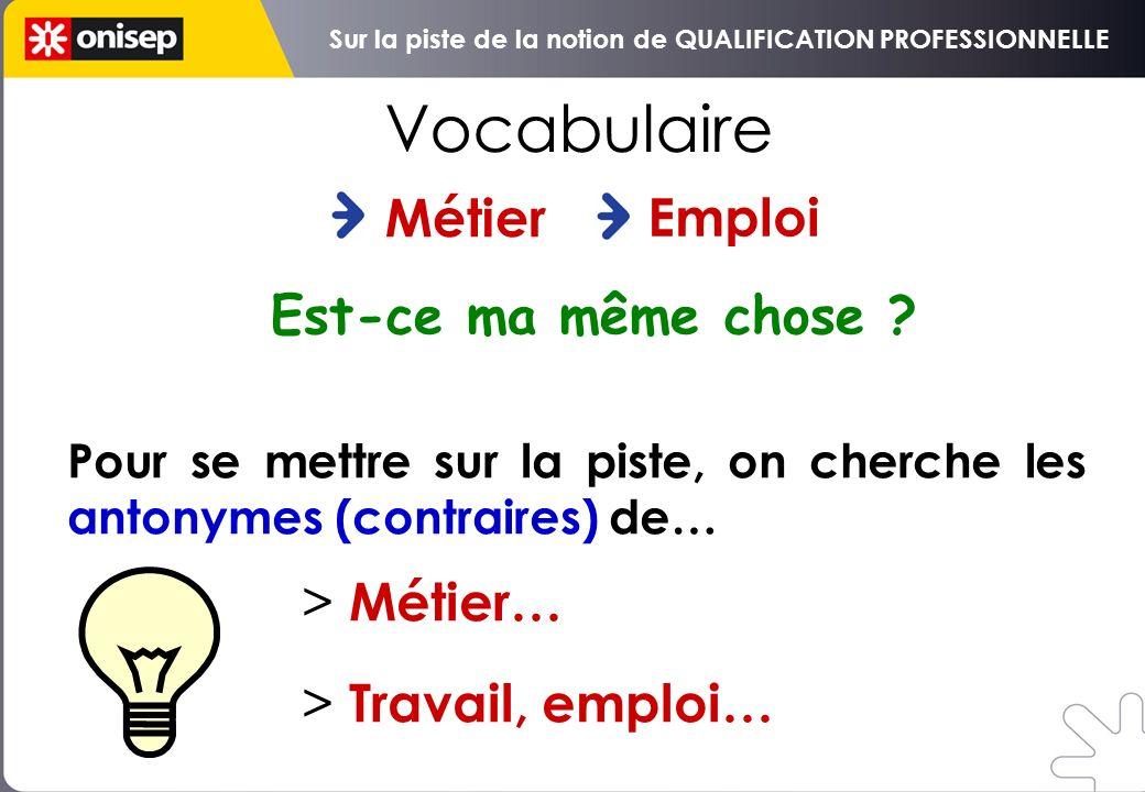 Métier Vocabulaire Emploi Pour se mettre sur la piste, on cherche les antonymes (contraires) de… > Métier… > Travail, emploi… Est-ce ma même chose .