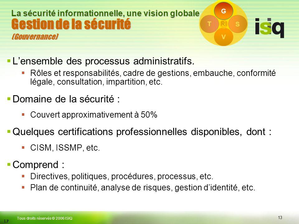 13 Tous droits réservés © 2006 ISIQ LP La sécurité informationnelle, une vision globale S V T RI Gestion de la sécurité (Gouvernance) Lensemble des processus administratifs.