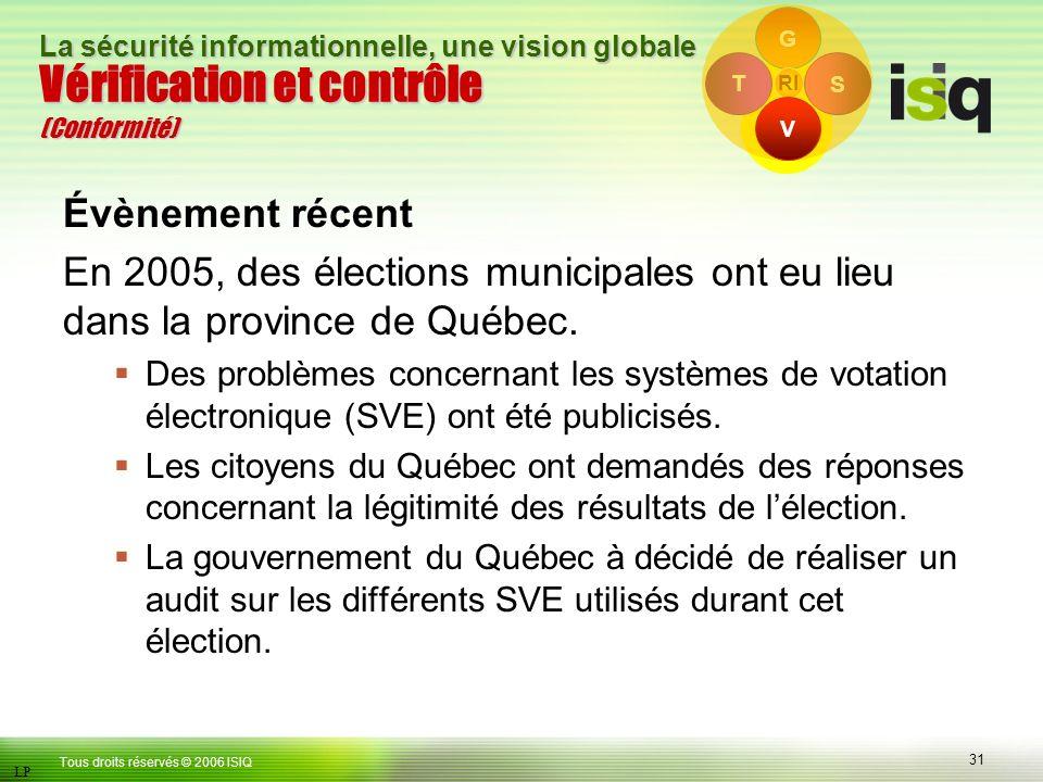 31 Tous droits réservés © 2006 ISIQ LP La sécurité informationnelle, une vision globale T S G RI Vérification et contrôle (Conformité) V Évènement récent En 2005, des élections municipales ont eu lieu dans la province de Québec.