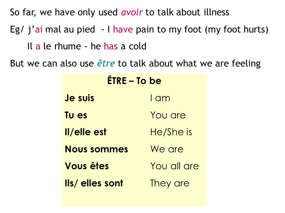 ÊTRE – To be Je suis I am Tu es You are Il/elle est He/She is Nous sommes We are Vous êtes You all are Ils/ elles sont They are So far, we have only used avoir to talk about illness Eg/ jai mal au pied - I have pain to my foot (my foot hurts) Il a le rhume - he has a cold But we can also use être to talk about what we are feeling