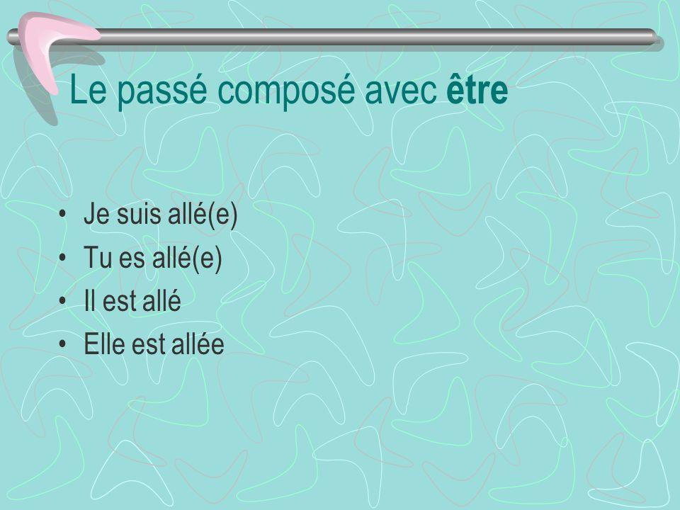Les verbes avec Être: Naître = Né Mourir = Mort Arriver = Arrivé Partir = Parti Entrer = Entré Sortir = Sorti Monter = Monté Descendre = descendu Alle