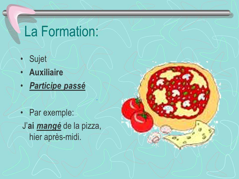 La Formation: Sujet Auxiliaire Participe passé Par exemple: J ai mangé de la pizza, hier après-midi.