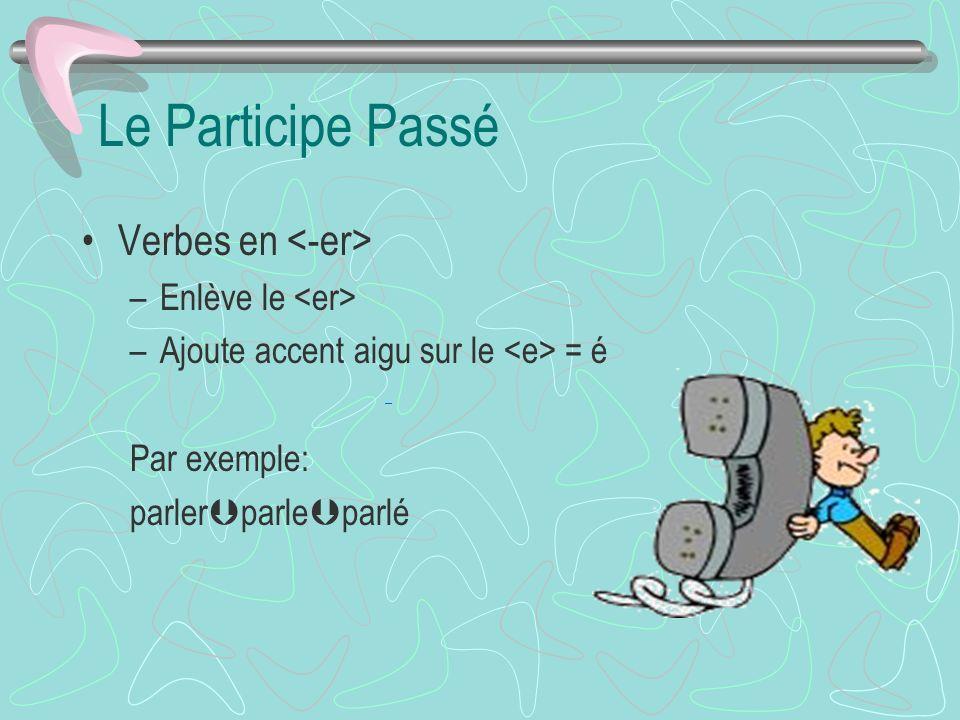Le Participe Passé Verbes en –Enlève le –Ajoute accent aigu sur le = é Par exemple: parler parle parlé