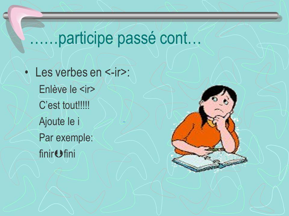 ……participe passé cont… Les verbes en : Enlève le Cest tout!!!!.
