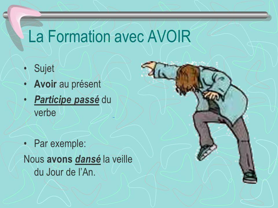 La Formation avec AVOIR Sujet Avoir au présent Participe passé du verbe Par exemple: Nous avons dansé la veille du Jour de lAn.