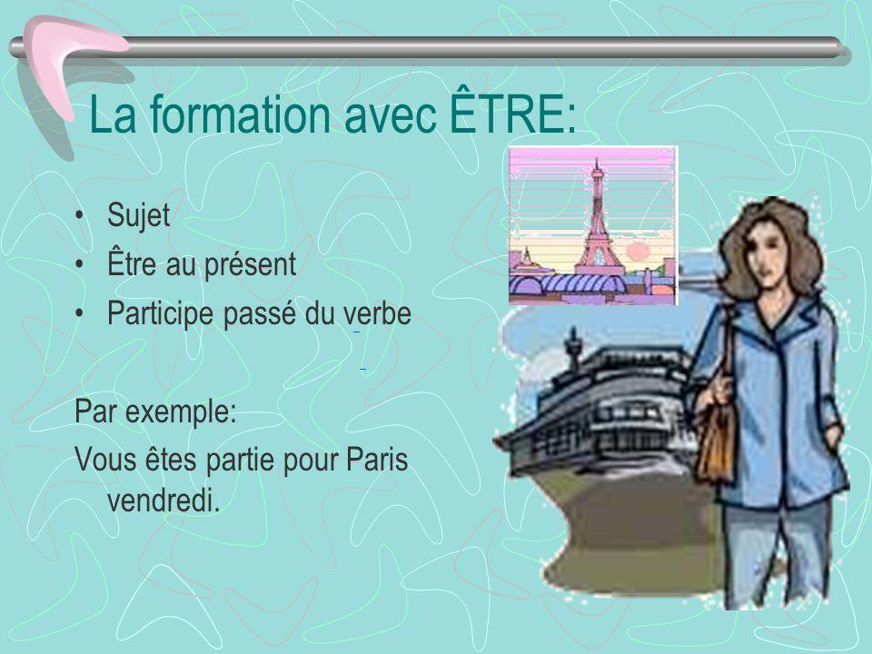 La formation avec ÊTRE: Sujet Être au présent Participe passé du verbe Par exemple: Vous êtes partie pour Paris vendredi.