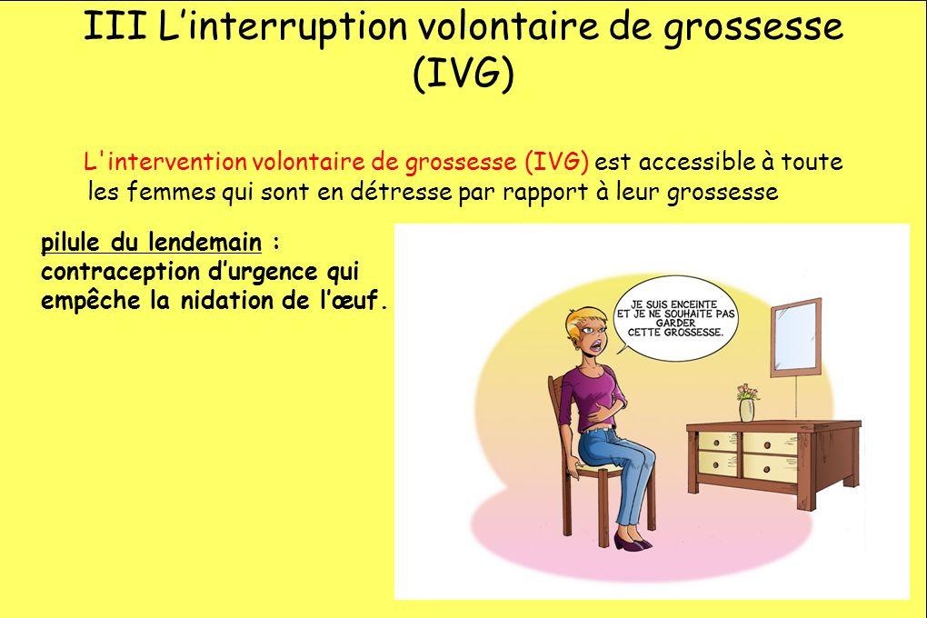 III Linterruption volontaire de grossesse (IVG) L'intervention volontaire de grossesse (IVG) est accessible à toute les femmes qui sont en détresse pa
