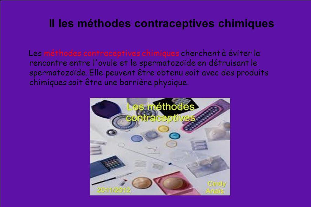 II les méthodes contraceptives chimiques Les méthodes contraceptives chimiques cherchent à éviter la rencontre entre l'ovule et le spermatozoïde en dé
