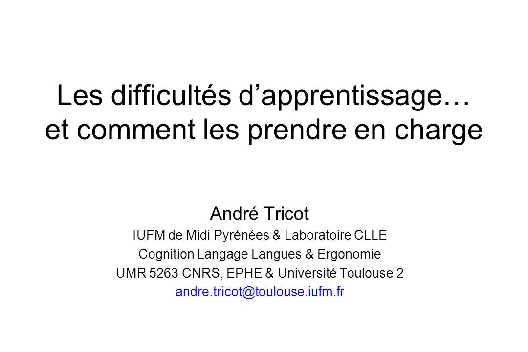 Les difficultés dapprentissage… et comment les prendre en charge André Tricot IUFM de Midi Pyrénées & Laboratoire CLLE Cognition Langage Langues & Erg