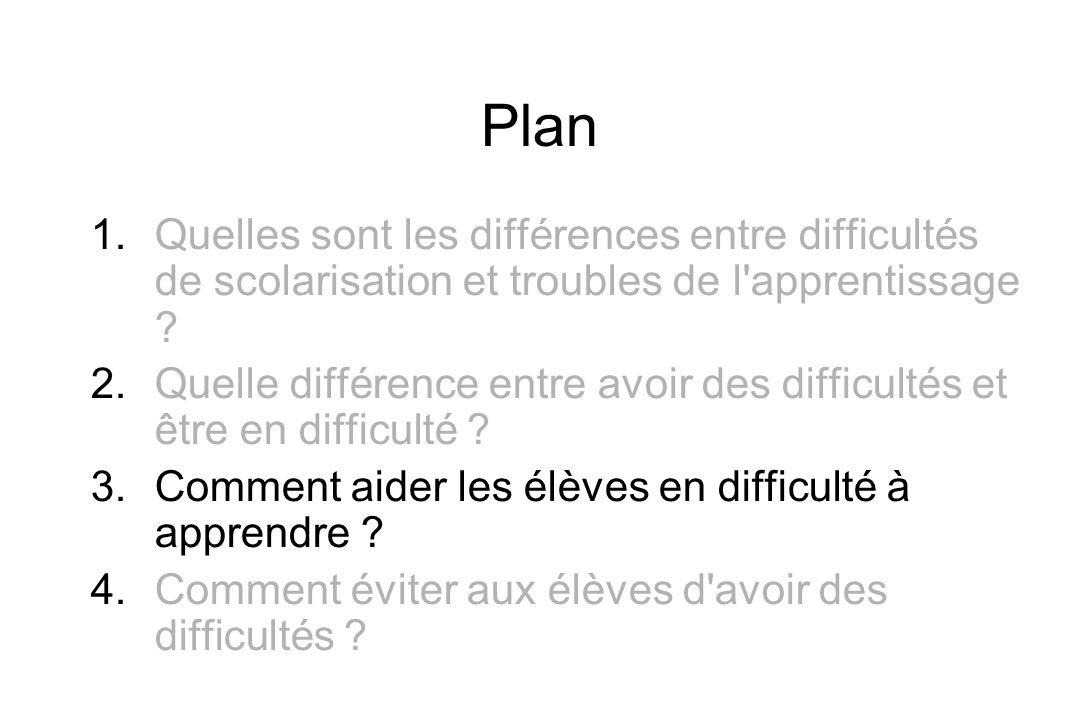 Plan 1. Quelles sont les différences entre difficultés de scolarisation et troubles de l'apprentissage ? 2. Quelle différence entre avoir des difficul