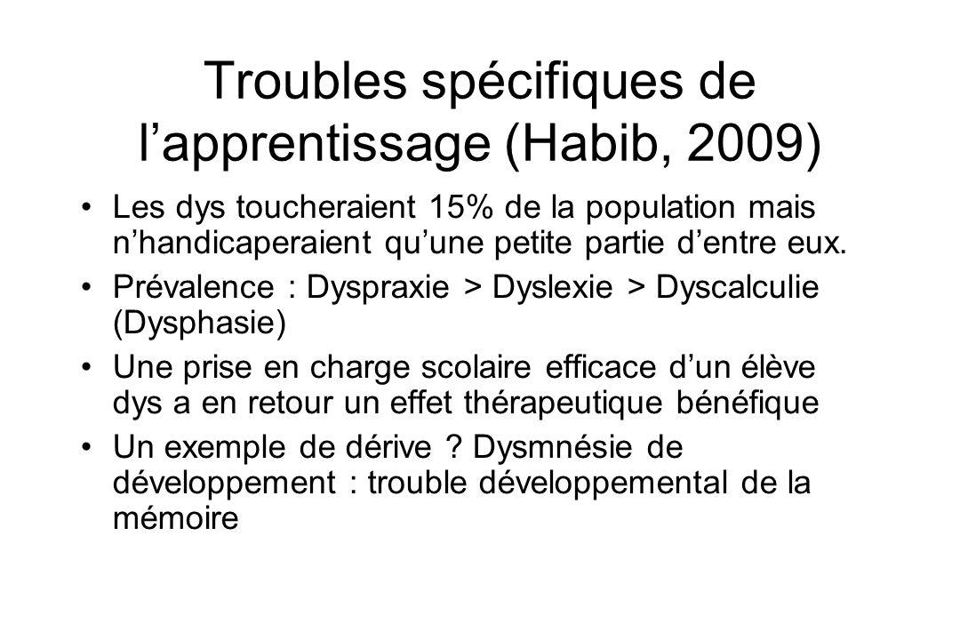 Troubles spécifiques de lapprentissage (Habib, 2009) Les dys toucheraient 15% de la population mais nhandicaperaient quune petite partie dentre eux. P