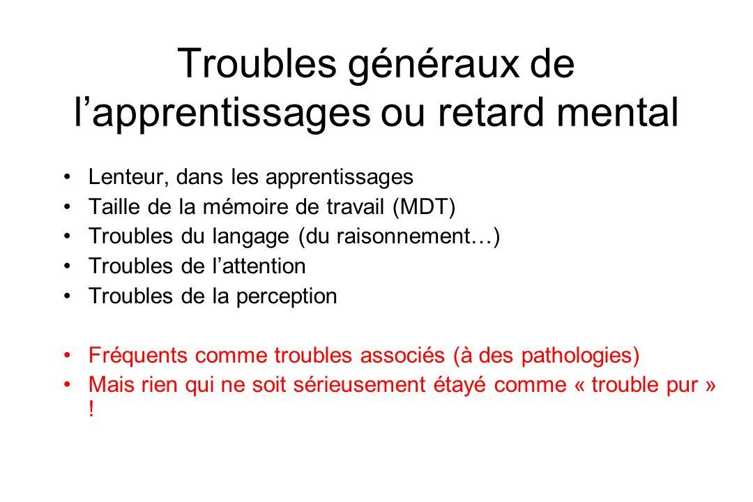 Troubles généraux de lapprentissages ou retard mental Lenteur, dans les apprentissages Taille de la mémoire de travail (MDT) Troubles du langage (du r